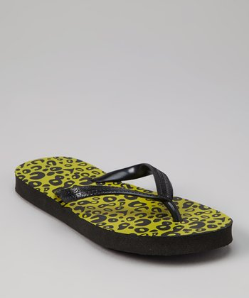 Yellow Leopard Flip-Flop - Kids