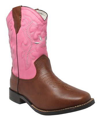 Pink & Brown Cowboy Boot