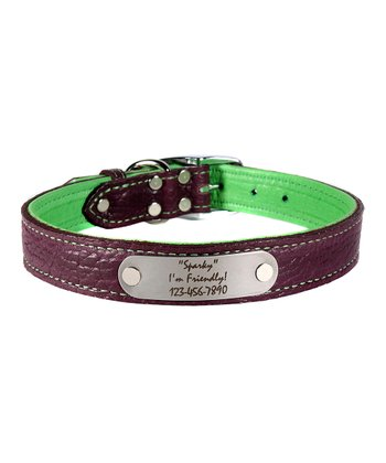 Purple & Green Personalized Bison Leather 19'' Dog Collar