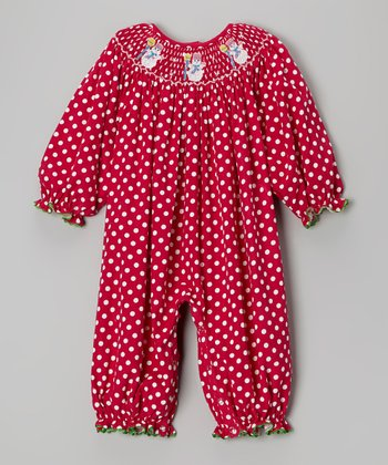 Red & White Polka Dot Snowman Playsuit - Infant & Toddler