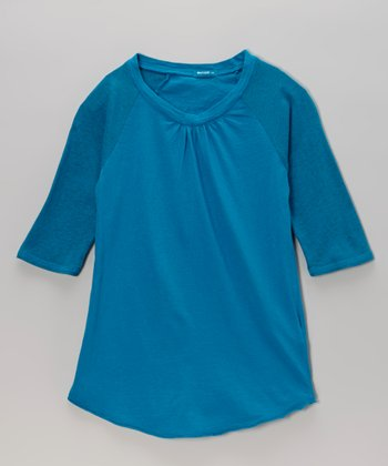 Atlantis Blue Raglan Tee - Girls