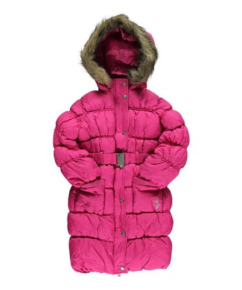 Berry It's Down Faux Fur Long Puffer Coat - Toddler & Girls
