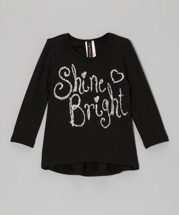 Black & Silver Glitter 'Shine Bright' Tee - Infant