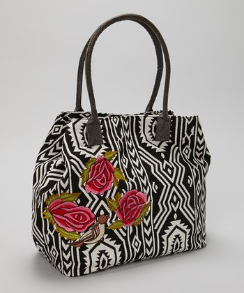 Black & White Rose Embellished Tote