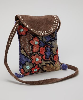 Brown & Red Embellished Crossbody Bag