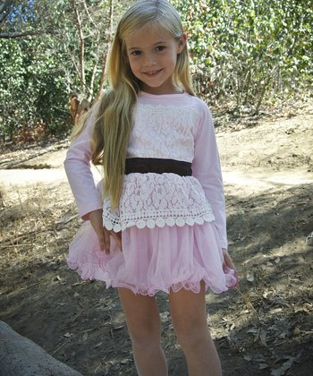 Pink Lace Tulle Princess Dress - Girls