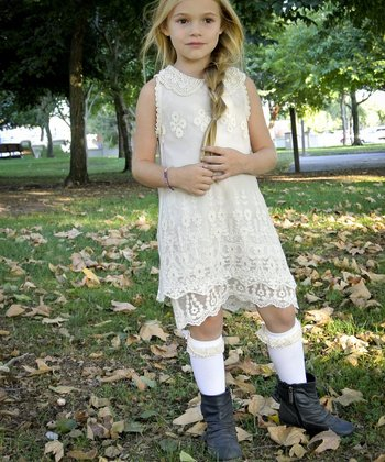 White Lace Pearl Collar Dress - Toddler & Girls