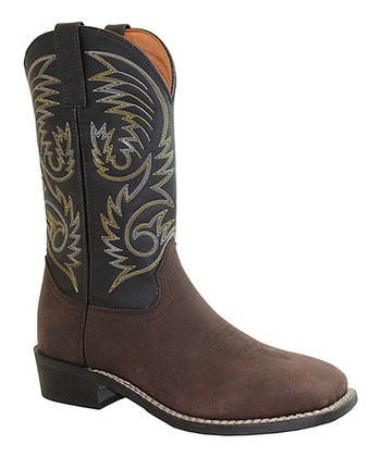 Brown Double Row Stitch Cowboy Boots - Men