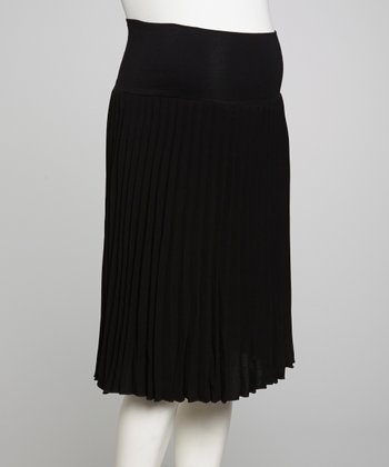 Black Accordion Over-Belly Maternity Skirt