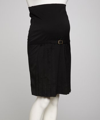 Black Over-Belly Pleated Belted Maternity Skirt