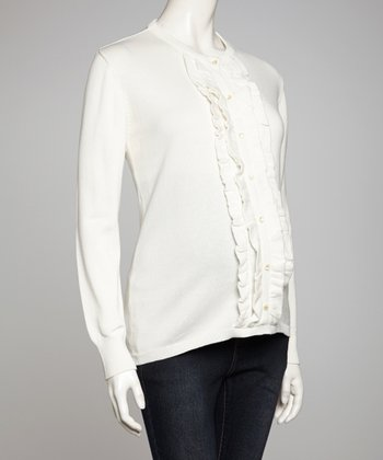 Cream Ruffle Maternity Sweater - Women