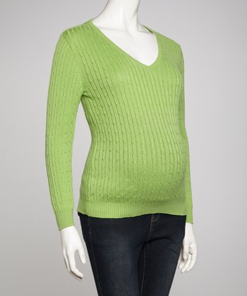 Green Maternity V-Neck Sweater