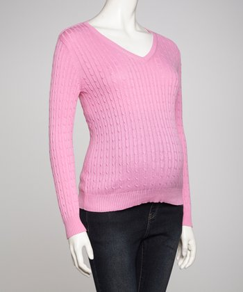 Pink Maternity V-Neck Sweater