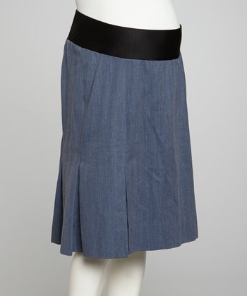 Denim Mid-Belly Pleated Maternity Skirt