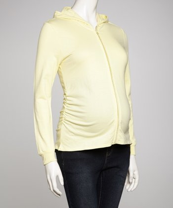 Yellow Maternity Zip-Up Hoodie