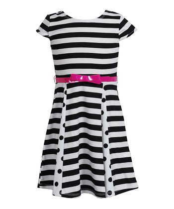 Black & White Stripe Belted A-Line Dress - Girls