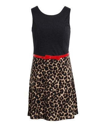 Black & Tan Leopard Belted Dress - Girls