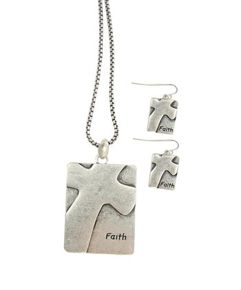 Silver Patina 'Faith' Square Pendant Necklace & Drop Earrings