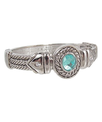 Silver Patina Faceted Stone Bangle