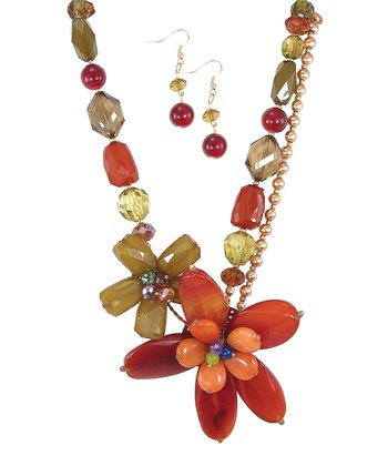 Red & Citrus Floral Bead Necklace & Drop Earrings