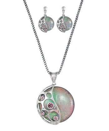 Silver Yin & Yang Opal Pendant & Drop Earrings