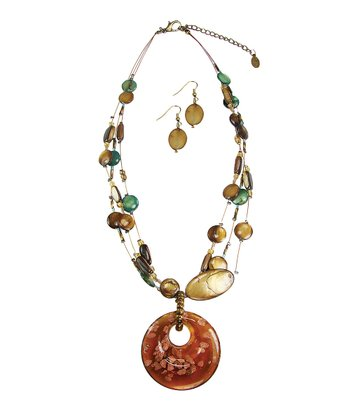 Tan & Gold Flake Glass Pendant Necklace & Drop Earrings