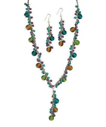 Aqua & Green Bead Necklace & Drop Earrings