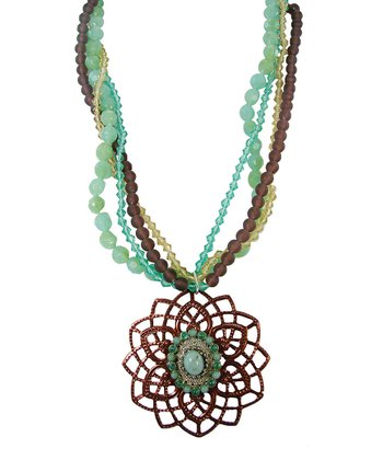 Jade & Brown Bead Spiral Flower Pendant Necklace