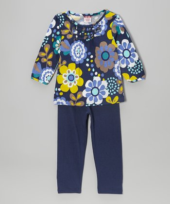 Navy Floral Ruffle Tee & Leggings - Girls