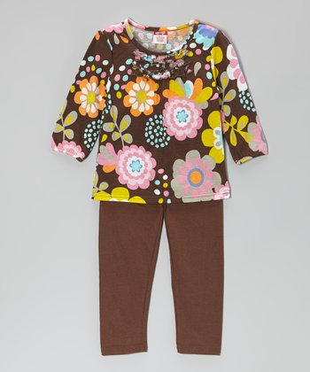 Brown Floral Ruffle Tee & Leggings - Girls
