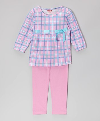 Pink Plaid Ribbon Babydoll Top & Leggings - Girls