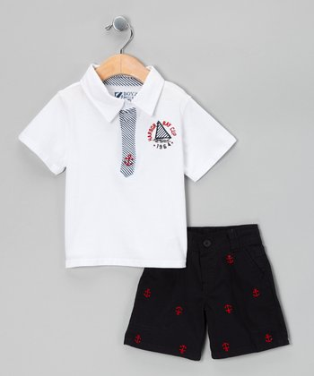 White Anchor Polo & Shorts - Infant