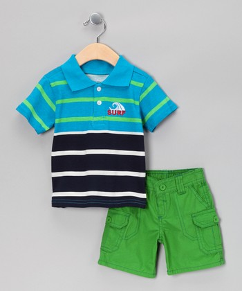 Aqua & Black Stripe Polo & Shorts - Toddler & Boys
