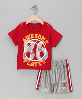 Red 'Awesome Player' Tee & Shorts - Infant