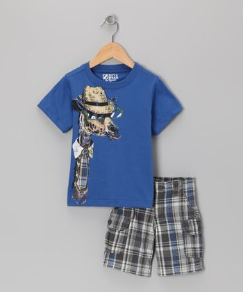 Blue Giraffe Tee & Shorts - Toddler & Boys
