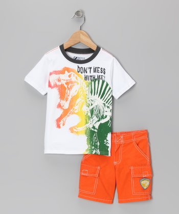 Orange 'Don't Mess With Me' Tee & Shorts - Toddler & Boys