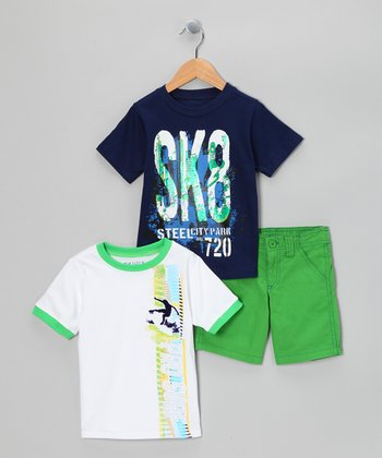 Green & Navy Surf Shorts Set - Boys