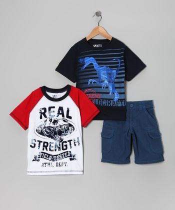 Blue & Red Dino Tee Set - Boys