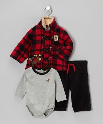 Gray & Red Plaid Moose Jacket Set - Infant