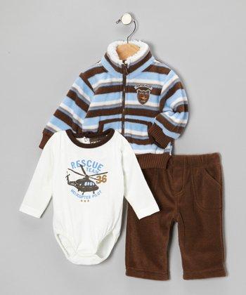Blue & Brown Helicopter Jacket Set - Infant