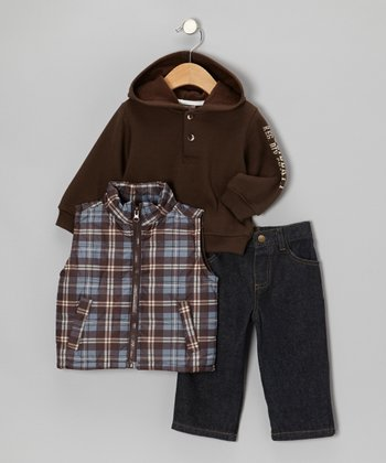 Blue & Brown Plaid Vest Set - Infant