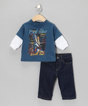 Blue 'Rock Star' Layered Tee & Jeans - Toddler
