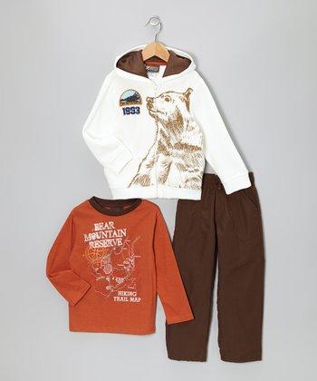 Orange 'Bear Mountain' Zip-Up Hoodie Set - Infant & Toddler