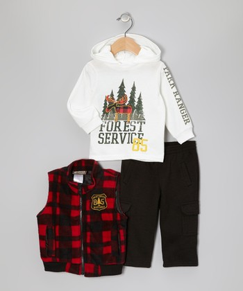 White & Red Plaid 'Forest Services' Vest Set - Infant