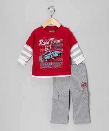 Red Race Layered Top & Gray Pants - Infant
