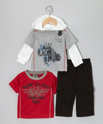 Red 'Born to Ride' Tee Set - Infant