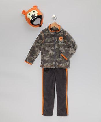 Gray & Orange Jacket Set - Boys