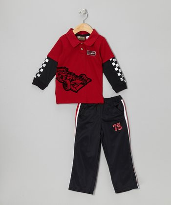 Red Racecar Layered Polo & Pants - Toddler