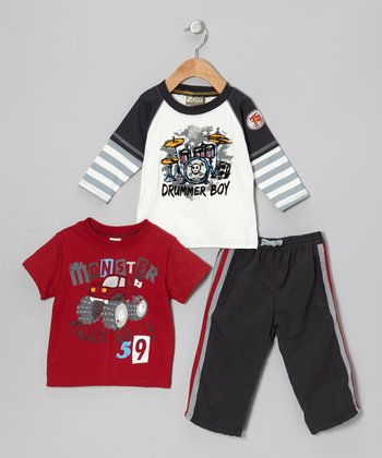 White & Black 'Drummer Boy' Layered Top Set - Infant