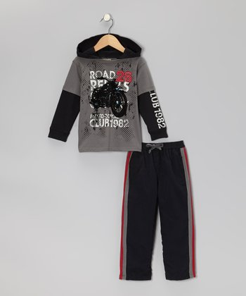 Gray Hooded Layered Top & Black Pants - Toddler